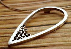 Silver Bamboo Circles Teardrop Pendant