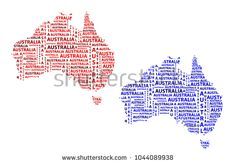 Sketch Australia letter text continent, Australia word - in the shape of the continent, Map of continent Australia - red and blue vector illustration Map Of Continents, Red And Blue, Sketch, Australia, Shapes, Stock Photos, Lettering, Words, Illustration