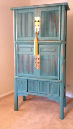 Antique Chinese Cabinet, Oriental Furniture, Teal, Distressed, Jade &silk Tassel