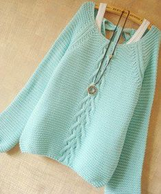 Mint Hollow Knit Sweater With Bow in back