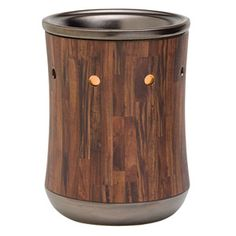 Dark wood-toned planks encircle this hip warmer for your man cave or living room.