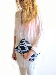 Medium black and white handprinted leather Xs clutch by arcofla, $140.00