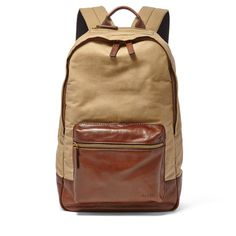 Fossil Two Tone Estate Backpack Tan Canvas Backpack, Sling Backpack, Leather Backpack, Hybrid Design, Fossil Watches, Modern Man, Leather Fashion, Leather Craft, Fashion Backpack