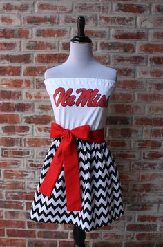 University of Mississippi Ole Miss Game Day Strapless Dress by Jill Be Nimble on Etsy.  Great Ole Miss gameday dress or gameday outfit.  It's also the perfect tailgating dress!