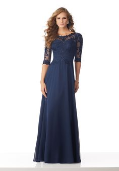 55236949f13 Chiffon Mother of the Bride Gown with Beaded and Embroidered Appliqués on  Net