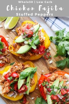 One of the best and easiest weeknight meals of all time: Chicken Fajita Stuffed Peppers! Bell peppers are gently broiled and stuffed with tender chicken, cauliflower rice (that's right, no rice!), fresh pico and avocado. This recipe is Paleo, Glute Easy Delicious Recipes, Paleo Recipes, Dinner Recipes, Dinner Ideas, Mexican Recipes, Meal Ideas, Lunch Ideas, Cooking Recipes, Enchiladas