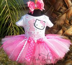Pink Blinged Shimmer Hello Kitty Birthday Girls Tutu Outfit on imgfave