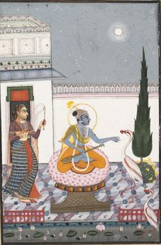 """Chandravimba Ragaputra: Page from a Dispersed """"Boston"""" Ragamala Series (Garland of Musical Modes). Date: ca. 1760. Culture: India (Rajasthan, Kotah or Bundi). Krishna, seated on a lotus throne, is being fanned by an attendant. He holds a lute in his lap and reaches toward a crane with his left hand,"""
