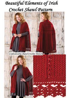Beautiful Crochet Shawl Pattern with Irish look and feel Beautiful Elements of Irish Crochet Shawl Pattern for any season Crochet Cape, Crochet Cardigan, Irish Crochet, Crochet Shawl, Crochet Stitches, Knit Crochet, Shawl Patterns, Knitting Patterns, Crochet Patterns
