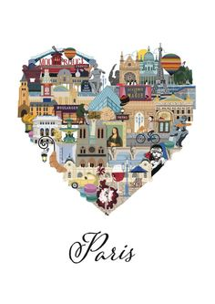 Love Paris is an intricately illustrated interpretation of all that makes Paris such a loveable and memorable city. From Le Louvre to the Eiffel Tower, Mona Lis Paris Amor, Deco France, Torre Eiffel Paris, Travel Illustration, Paris Illustration, I Love Paris, Oui Oui, Vintage Travel Posters, Paris Travel