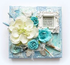 Inspirational Canvas- Prima - Scrapbook.com - Use paint brushes dipped in paint to embellish a canvas.