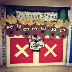 Diy Christmas Decorations For Office Holiday Parties Christmas Cubicle Decorations, Christmas Door Decorating Contest, Christmas Themes, Christmas Crafts, Reindeer Decorations, Christmas Classroom Door, Preschool Christmas, Office Holiday Party, Holiday Parties