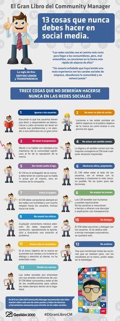 13 cosas que no debes hacer en Redes Sociales. #infografia