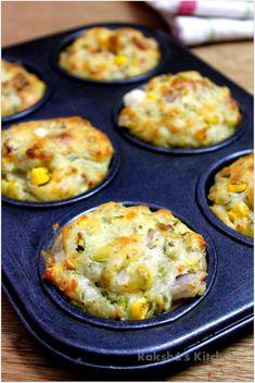 Savory Veggie Corn Cheese Muffins, Veg corn muffins, veg muffins, savory muffins