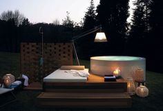Overflow round hot tub MINIPOOL Outdoor Collection by Kos by Zucchetti Outdoor Spa, Jacuzzi Outdoor, Outdoor Lighting, Outdoor Gardens, Outdoor Decor, Mini Piscina, Mini Pool, Kos, Piscina Hotel