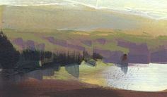 Nathan Fowkes, Land Sketch: Crystal springs reservoir outside Redwood Ci. Contemporary Landscape, Abstract Landscape, Landscape Paintings, Nathan Fowkes, Guache, Cool Sketches, Gouache Painting, Abstract Watercolor, Watercolor Ideas