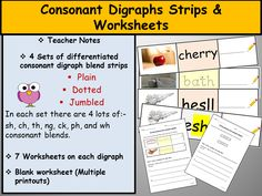 Phonics-Consonant Digraph Strips and Worksheets, Teacher Notes