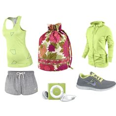 """Lime Workout Attire"" by chelseapeterson on Polyvore"