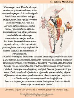 Palabras de novela: DON QUIJOTE DE LA MANCHA de Cervantes. Por Gabriela Mariel Arias. Don Quixote, Entryway, Novels, Words, Libros
