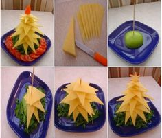 DIY Edible Christmas Tree Platter tutorials: Fruit Christmas Tree, Appetizer Christmas Tree to serve your holiday table feast. Fruit Christmas Tree, Christmas Cheese, Creative Christmas Trees, Christmas Party Food, Xmas Food, Christmas Appetizers, Noel Christmas, Appetizers For Party, Christmas Treats