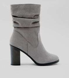 bcaf1f5f1eae Grey Suedette Slouchy Block Heel Ankle Boots