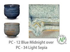 AMACO Potter's Choice layered glazes PC-34 Light Sepia and PC-12 Blue Midnight.