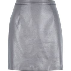 River Island Dark grey coated A-line skirt ($24) ❤ liked on Polyvore featuring skirts, grey, sale, women, short mini skirts, a line mini skirt, short a line skirt, dark grey skirt and short skirts