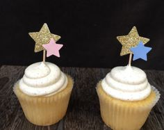 These glittered star cupcake toppers will be the perfect compliment to your Little Star or Twinkle Twinkle Little Star birthday or shower. Use to top cupcakes or as appetizer picks in cheese cubes, fruit bites or any little bites you may be serving! This listing is for 12ct picks. Each pick is 3 including the glittered hand punched star topper. Star topper is hand punched, high quality, glittered card stock. Stars are double sided so youll have glitter on both sides