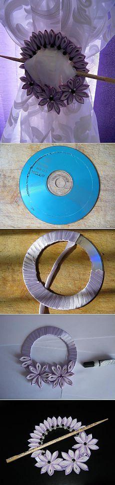 Прихват для штор из диска.