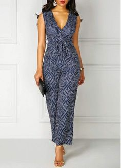 Printed High Waist V Neck Sleeveless Jumpsuit on sale only US$30.84 now, buy cheap Printed High Waist V Neck Sleeveless Jumpsuit at Rosewe.com