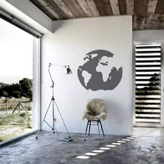 Round World Map Decal – Grey from Wanderlust Wall Art - R229 (Save 45%)
