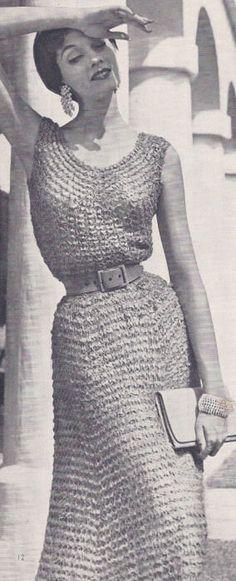 Vintage Knitting Pattern Ribbon Evening Dress 1950S