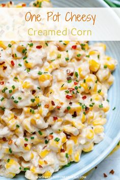 One Pot Cheesy Creamed Corn | This One Pot Cheesy Creamed Corn recipe is super easy to make and so creamy it will be hard to stop at only one serving. This creamed corn will by far be the best you've ever had! |www.healthyfitnessmeals.com | #creamedcorn #onepotcorn via @healthyfitnessmeals