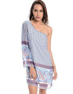 One Shoulder Paisley Print Dress  Royal Blue