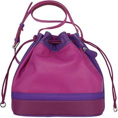 Leather Drawstring Crossbody Handbag (Very Berry) ** More info could be found at the image url. #ShoulderBag