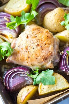 Sheet Pan Baked Chicken Thighs Recipe with Potatoes from /inspiredtaste/