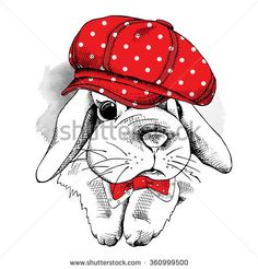 Small rabbit in a red cap and with tie. Vector illustration.