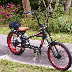 Photos of custom motorized bicycles.See OCC Schwinn Stingray choppers we've motorized.Also rat rods & cruisers, e-bikes or ones with gas and electric motors. Bicycles For Sale, Cool Bicycles, Scooters, Bike Chopper, Gas Powered Bicycle, Banana Seat Bike, Tricycle Bike, Motorised Bike, Motorized Bicycle