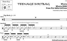 Teenage Dirtbag - Wheatus - Drum Sheet Music #wheatus #teenagedirtbag #drums