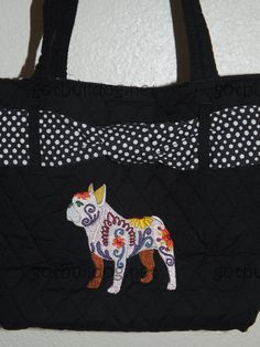 Black & White Quilted Tote Bag. Featuring a black & white polka dot ribbon