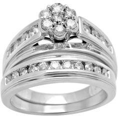 1 Carat T.W. Diamond 10kt White Gold Bridal Set