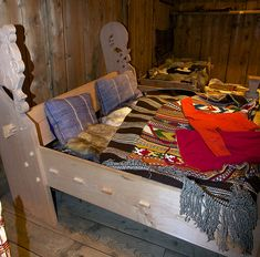 A Viking bed in Lofotr Viking Museum, Norway