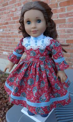 1850's Civil War style Dress in red/blue paisley for American Girl dolls Cecile, Marie Grace and Addy by Designed4Dolls on Etsy - SOLD  $29.95