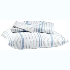 John Robshaw Textiles - Glacier Striped Cotton Coverlet - Striped Cotton - Quilts & Coverlets