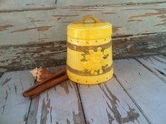 Retro yellow cookie jar by happydayantiques on Etsy, $15.00