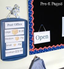 Dramatic Play Post Office pictures, ideas and printables for preschool and kindergarten