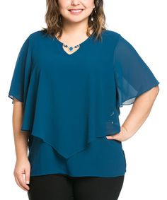 Another great find on #zulily! Blue Embellished-Keyhole Layered Cape-Sleeve Top - Plus #zulilyfinds