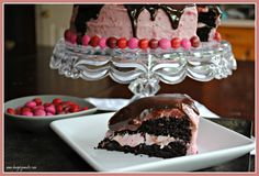 Dark Chocolate Cake with Raspberry Cream Cheese Frosting and Dark Chocolate Ganache