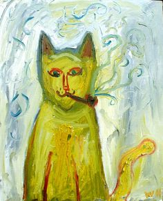 Yellow Cat by Wolf Howard. Oil on canvas.