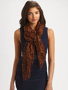Brown Leopard Scarf by Alexander McQueen. Buy for $555 from Saks Fifth Avenue